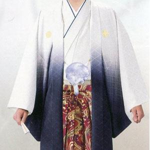 商品No.no_131 紋付袴レンタル 白紺ボカシメイン画像