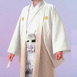 商品No.no_134 紋付袴レンタル 白ベージュボカシメイン画像